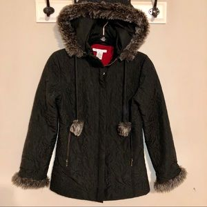 CAbi quilted faux fur detailed coat